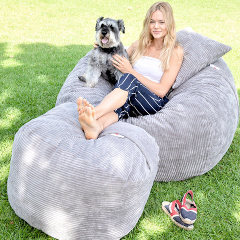 medium bean bag with scatter cushion and foot rest