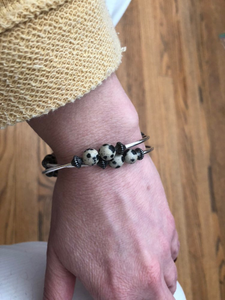 Dalmation Jasper and Lava Bead Diffuser Bracelet