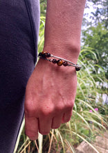 Load image into Gallery viewer, Tiger Eye and Smoky Quartz Expandable Diffuser Bracelet