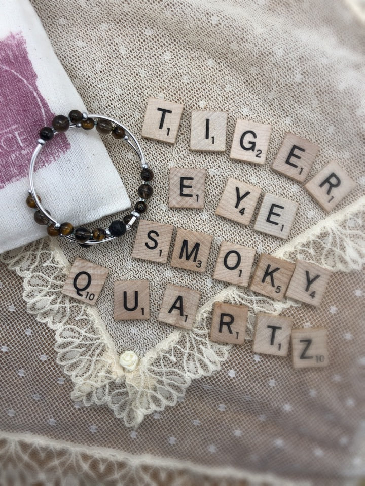 Tiger Eye and Smoky Quartz II Expandable Diffuser Bracelet