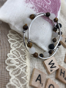 Tiger Eye and White Agate Expandable Diffuser Bracelet