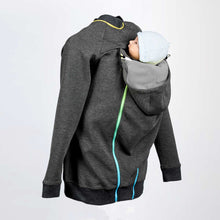 Back image of a dark grey babywearing and maternity hoodie with an infant being baby carried on the back.