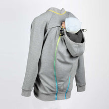 Back image of a light grey babywearing and maternity hoodie with an infant being baby carried on the back.