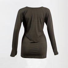 Back image of a dark grey long sleeve breastfeeding top