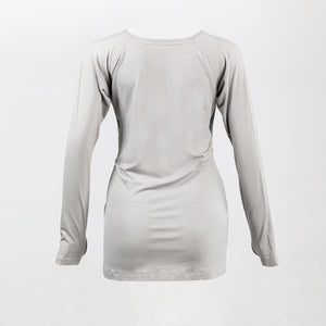 Back image of a light grey long sleeve breastfeeding top.