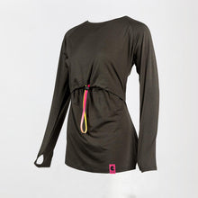 Side image of a dark grey long sleeve breastfeeding top.