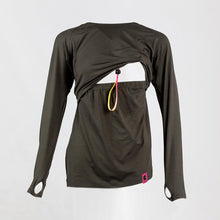 Front image of a dark grey long sleeve breastfeeding top with the opening exposing the womans chest area.