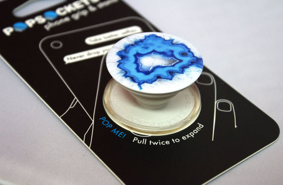 PopSockets Single Phone Grip Ice Blue Agate PopSocket Universal Phone Holder