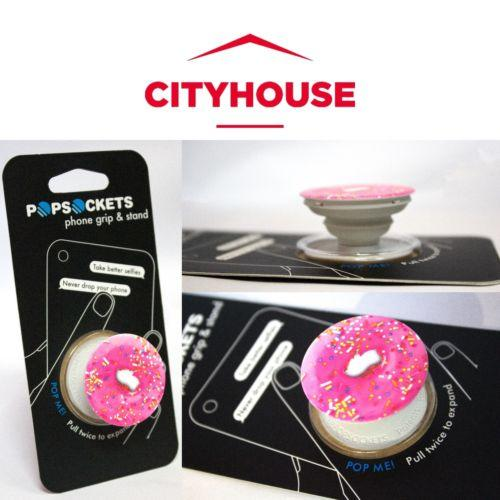 PopSockets Single Phone Grip PopSocket Universal Phone Holder PINK DONUT