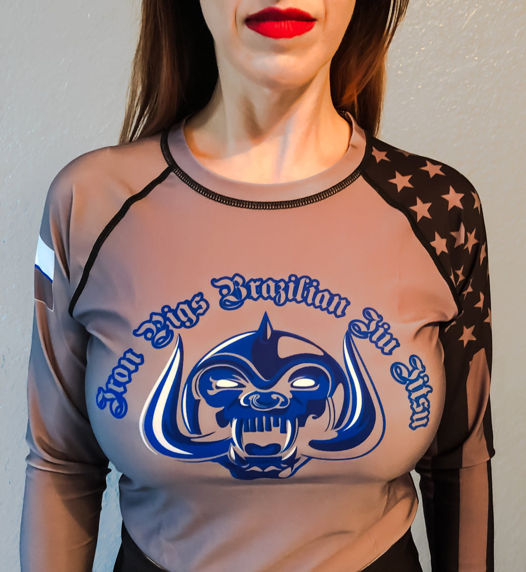 Grey Long Sleeve Iron Pigs Rashguard
