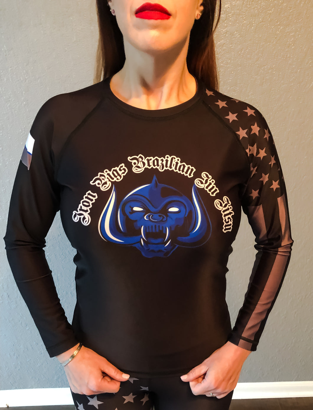 Black Long Sleeve Iron Pigs Rashguard