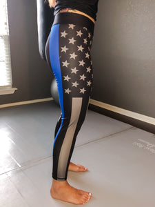 Thin Blue Line BJJ Spats / Yoga Pants