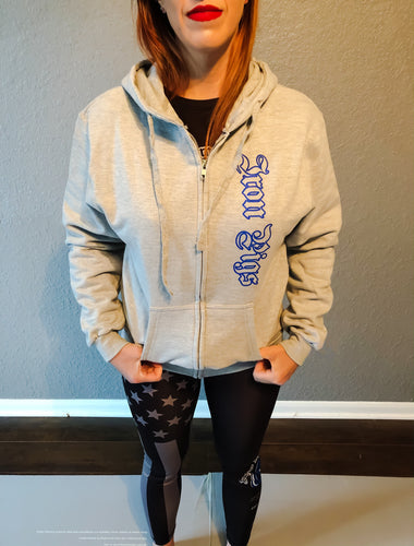 Heather Grey and Blue Iron Pigs Hoodie