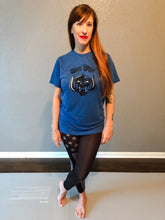 Load image into Gallery viewer, Heather Blue and Black Short Sleeve Iron Pigs T-Shirt