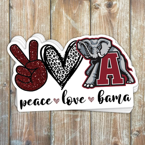 Peace Love Bama Sticker