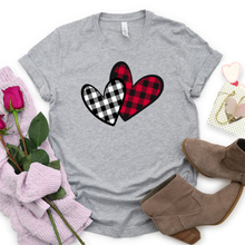 Load image into Gallery viewer, Buffalo Plaid Hearts Tee