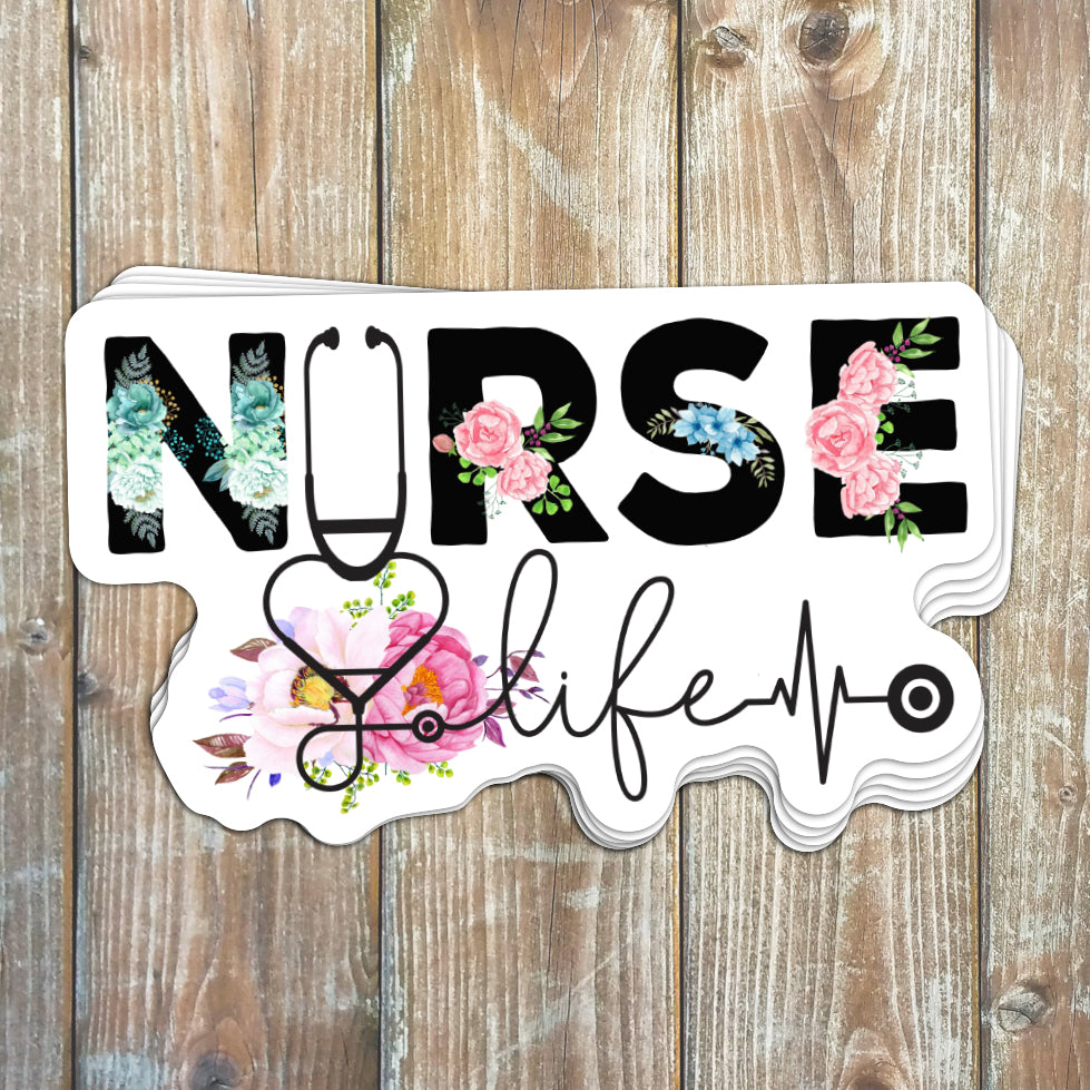 Floral Nurse Life Sticker