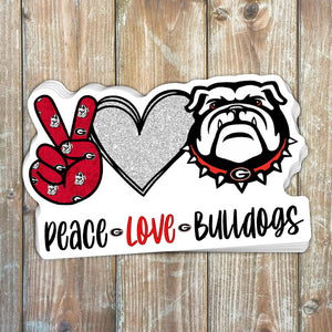 Peace Love Bulldogs Sticker