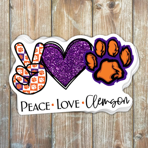 Peace Love Clemson Sticker