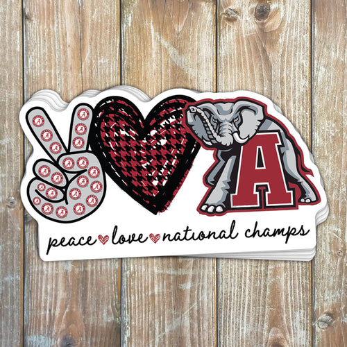 Peace Love National Champs Sticker
