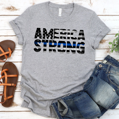 America Strong Thin Blue Line Tee