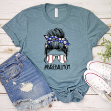 Load image into Gallery viewer, Baseball Mom Messy Bun Tee