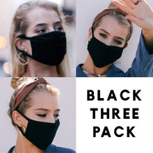 Load image into Gallery viewer, Solid Black - Face Mask Three Pack