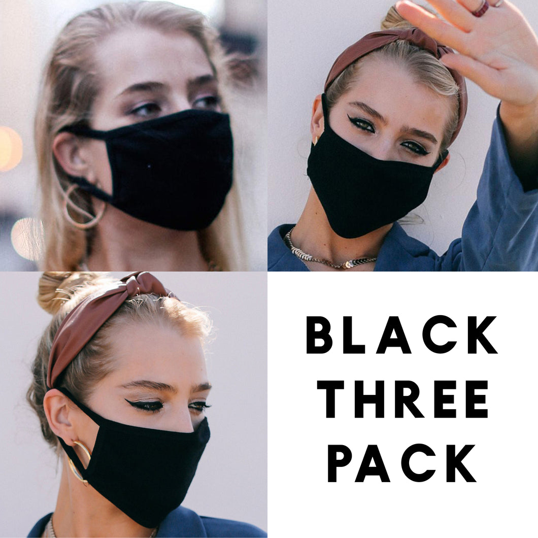 Solid Black - Face Mask Three Pack