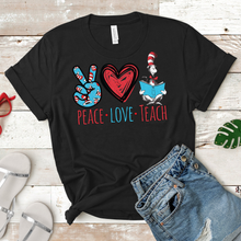 Load image into Gallery viewer, Peace Love Teach Tee