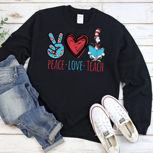 Peace Love Teach Crew Neck Sweater