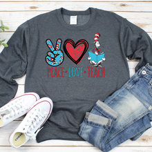 Load image into Gallery viewer, Peace Love Teach Crew Neck Sweater