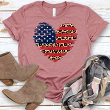 Load image into Gallery viewer, American Flag Leopard Heart Tee