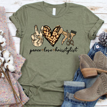 Load image into Gallery viewer, Peace Love Hair Stylist Tee