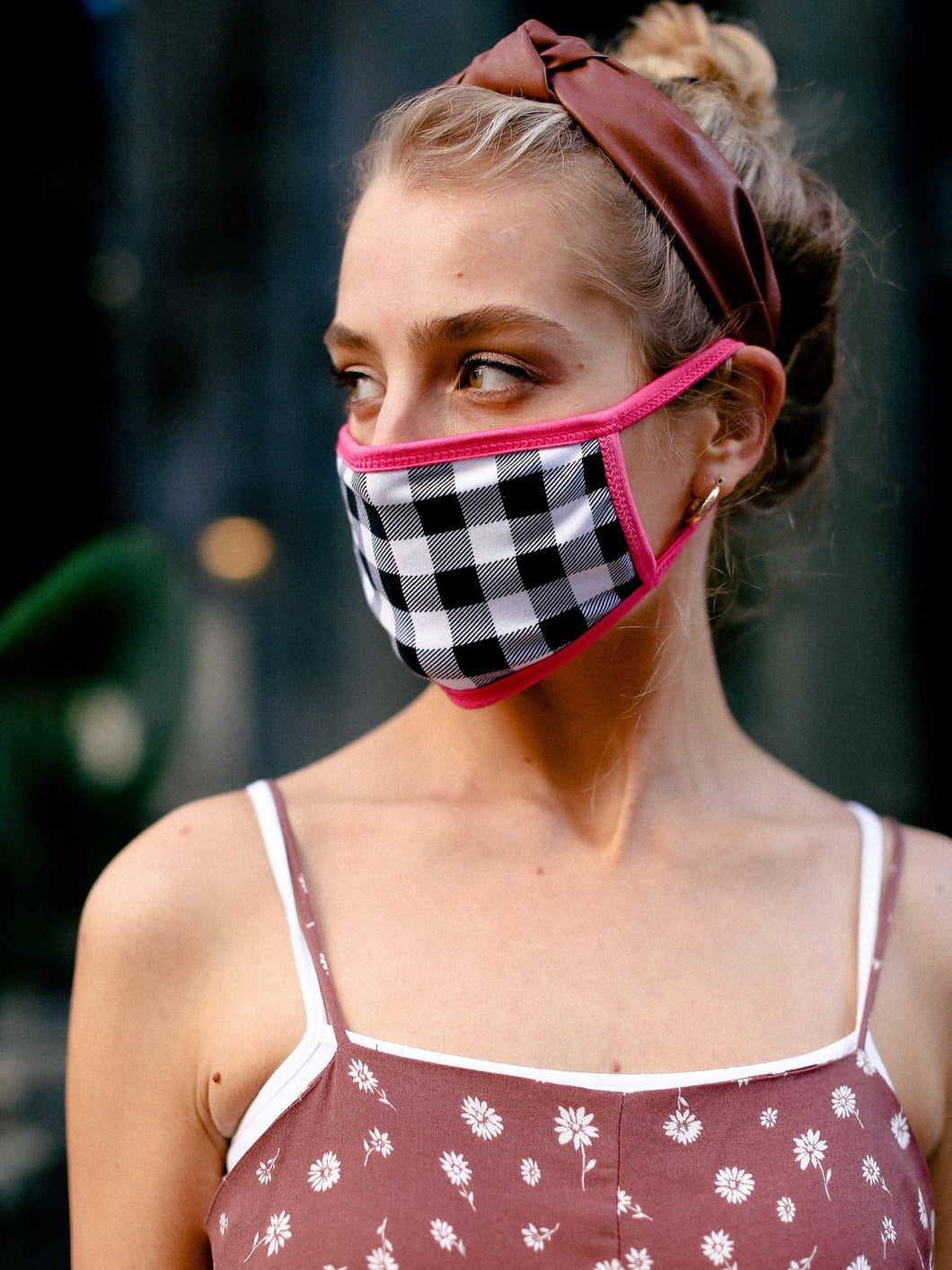 Pink Gingham Cotton Face Mask