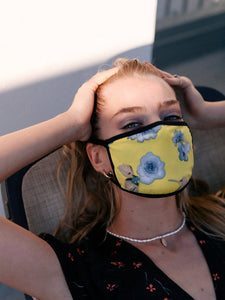 Yellow Floral Cotton Face Mask