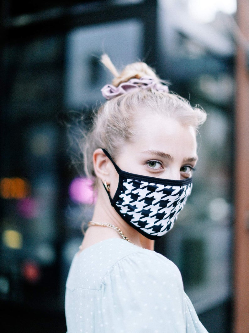 Houndstooth Cotton Face Mask