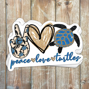 Peace Love Turtles Sticker