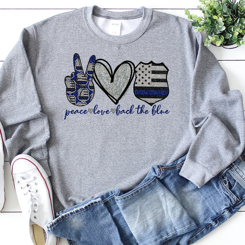 Peace Love Back The Blue Crew Neck Sweater