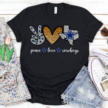 Load image into Gallery viewer, Peace Love Dallas Cowboys Tee