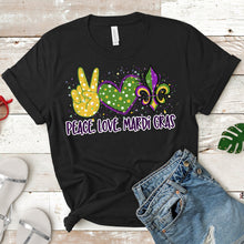 Load image into Gallery viewer, Peace Love Mardi Gras Tee