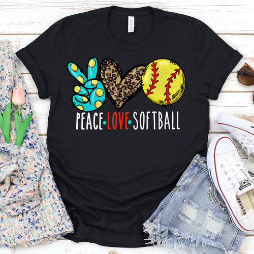 Peace Love Softball Tee