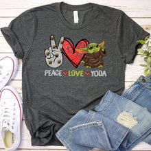 Load image into Gallery viewer, Peace Love Baby Yoda Tee
