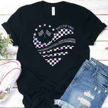 Load image into Gallery viewer, Race Day Vibes Heart Tee