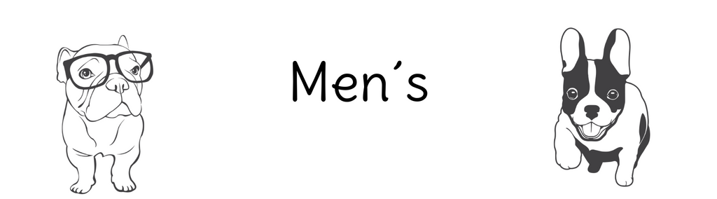 Two French Bulldogs sat next to the text: Men´s