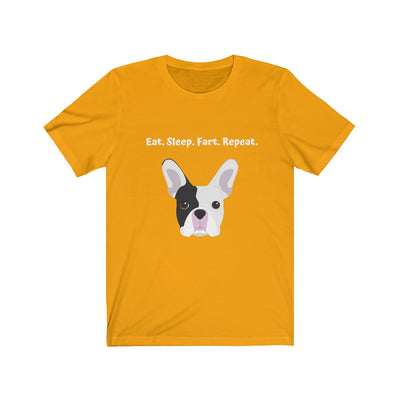Light orange t-shirt with black and white french bulldog on the front