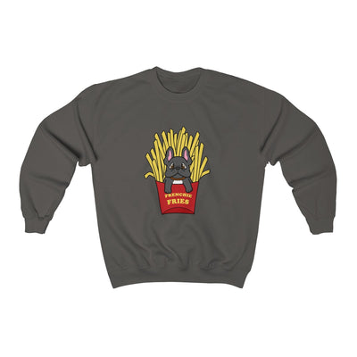 Dark Grey hoodie with a French Bulldog Frenchie Fries design in the middle
