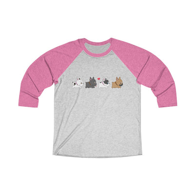 Pink 3/4 Tee with four french bulldogs on