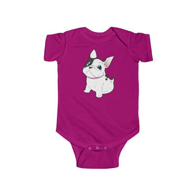 Purple baby Bodysuit with a cute white french bulldog on