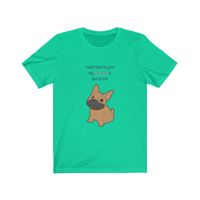 Green t-shirt with a fawn colored french bulldog on