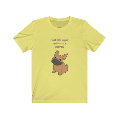 Yellow t-shirt with a fawn colored french bulldog on